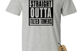 NuffSaid Straight Out of Tilted Towers T-Shirt - Video Game Tee (Small, Sports Grey - Black Ink)