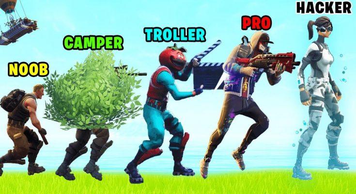Evolution of Stereotypes in Fortnite Battle Royale (Noob, Camper, Troller, Pro, Hacker)