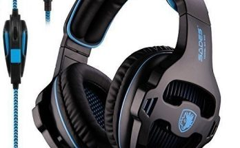SADES SA810 Stereo Gaming Headset for Xbox One PC PS4 Over-Ear Headphones with Noise Canceling Mic Soft Ear Cushion 3.5mm Jack Cable for Mac Smartphone Laptop Tablet
