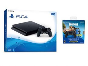 Playstation 4 Fortnite Starter Bundle: Playstation Exclusive Royale Bomber Outfit, 500 V-Bucks, Playstation 4 Slim 1 TB Console with Extra DUALSHOCK 4 Wireless Controller - Bl...