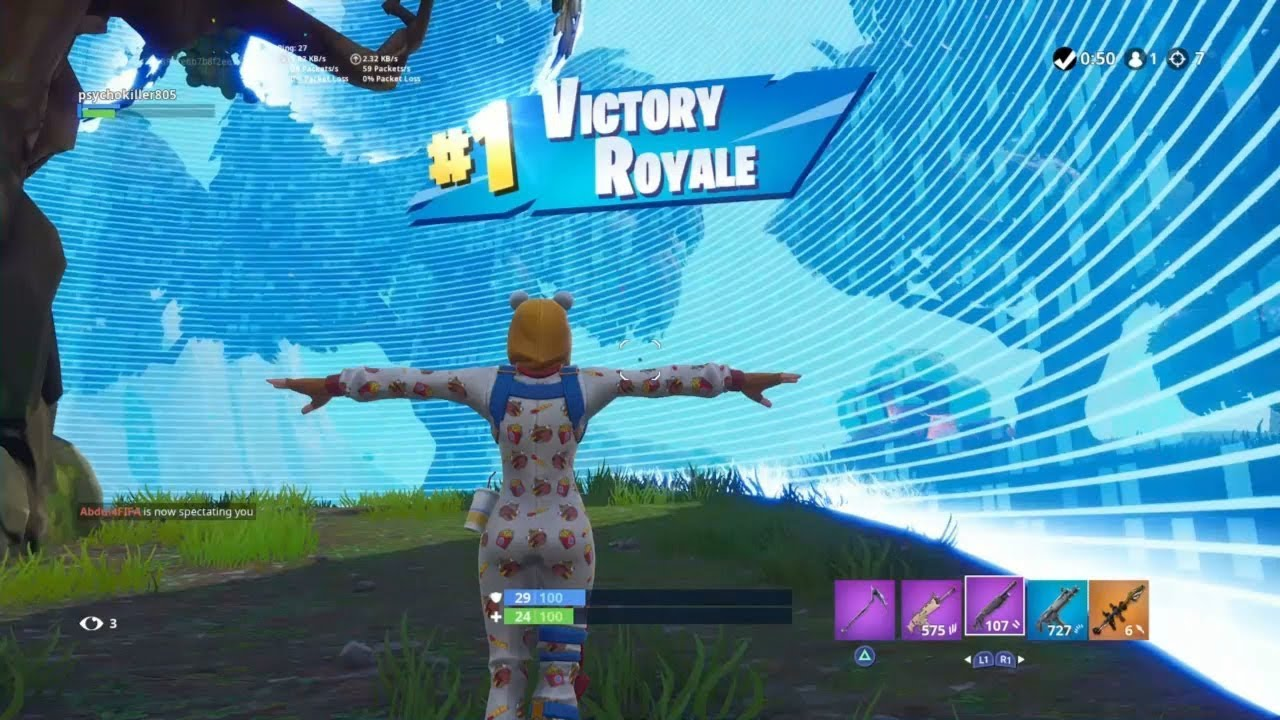 Fortnite First Win With Onesie Skin Durrr Burger Outfit