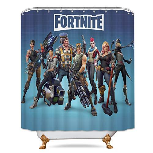 LIGHTINHOME Fortnite Shower Curtain Soldier Superhero Video Game Ombre Blue Team Decor Fabric Set Polyester Waterproof