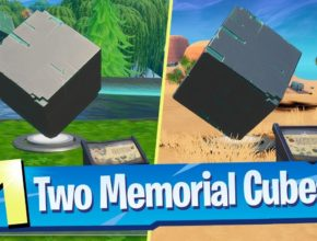 Visit Cube Memorials in the Desert and by a Lake Locations - Fortnite (Worlds Collide Challenge)